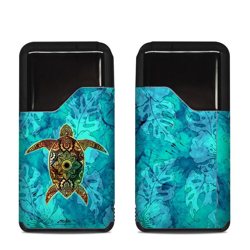 Suorin Air Skin design of Sea turtle, Green sea turtle, Turtle, Hawksbill sea turtle, Tortoise, Reptile, Loggerhead sea turtle, Illustration, Art, Pattern with blue, black, green, gray, red colors