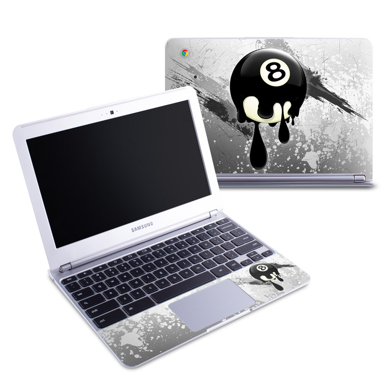 Samsung Chromebook 1 Skin design of Eight-ball, Games, Billiard ball, Pool, Indoor games and sports, Cartoon, Ball, Graphic design, Pocket billiards, Animated cartoon with black, yellow, green colors