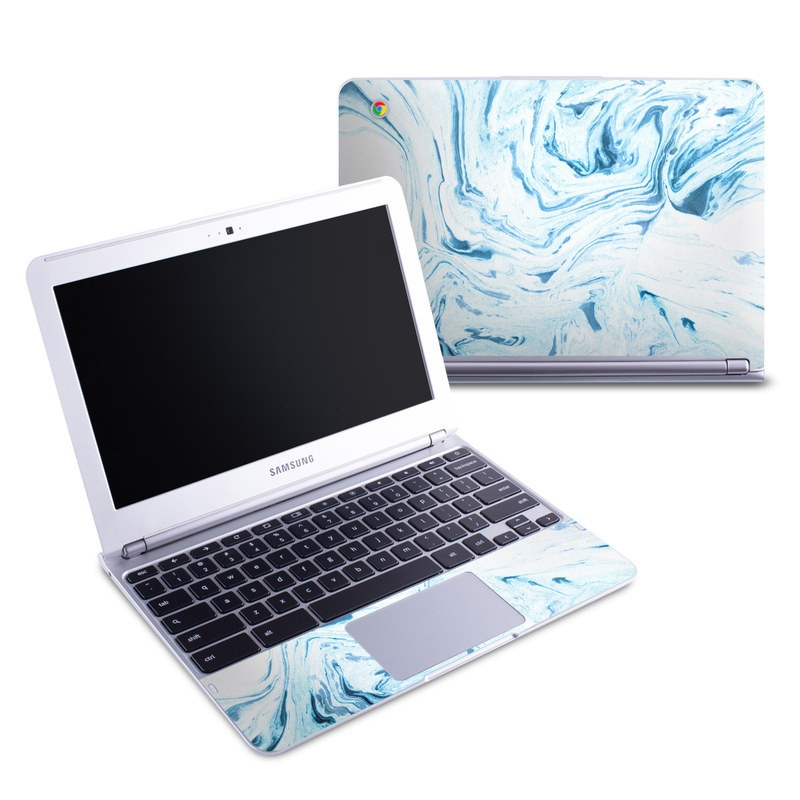 Samsung Chromebook 1 Skin design of Water, Aqua, Wind wave, Drawing, Painting, Wave, Pattern, Art with blue colors