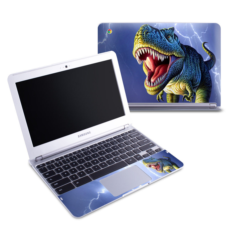 Samsung Chromebook 1 Skin design of Dinosaur, Extinction, Tyrannosaurus, Velociraptor, Tooth, Jaw, Organism, Mouth, Fictional character, Art with blue, green, yellow, orange, red colors