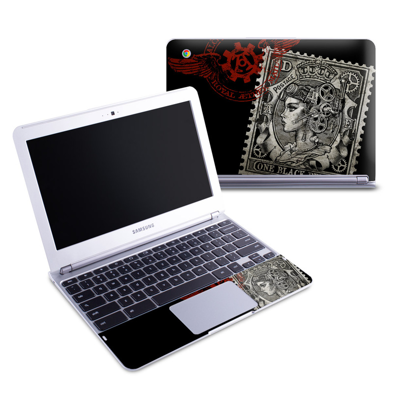Samsung Chromebook 1 Skin design of Font, Postage stamp, Illustration, Drawing, Art with black, gray, red colors
