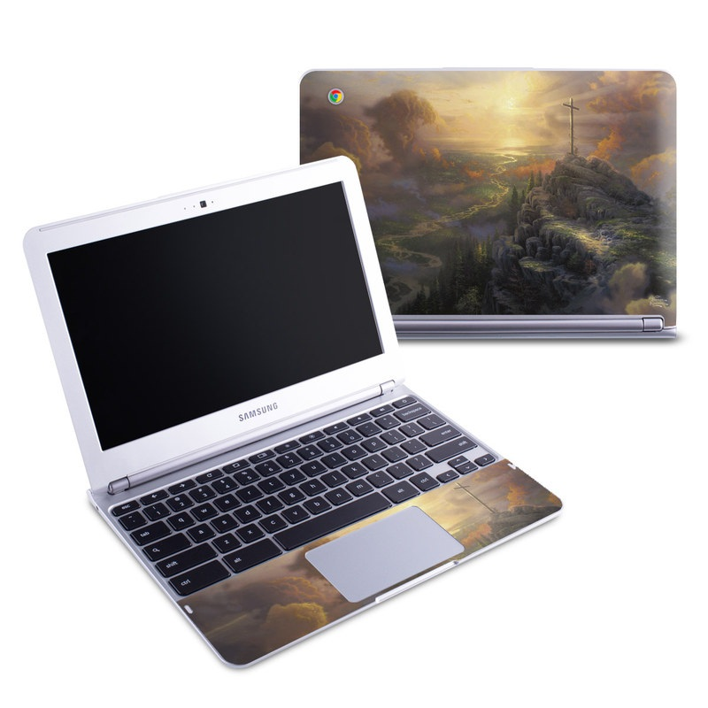 Samsung Chromebook 1 Skin design of Painting, Natural landscape, Sky, Cross, Landscape, Visual arts, Art, Symbol, Acrylic paint with black, gray, green, red colors