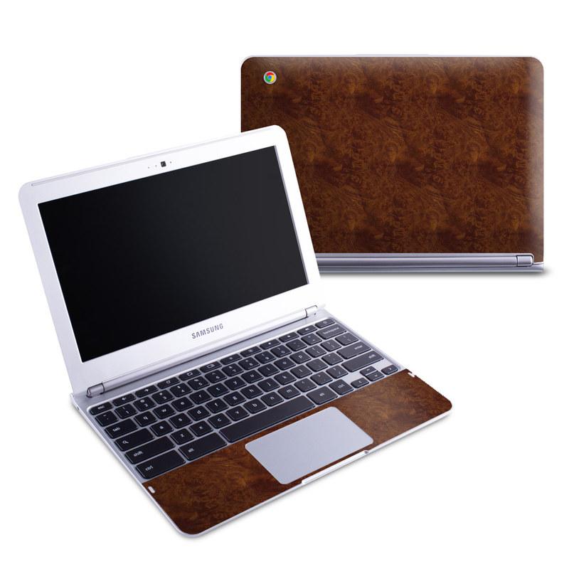 Dark Burlwood Samsung Chromebook 1 Skin