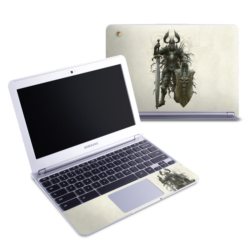 Samsung Chromebook 1 Skin design of Armour, Demon, Illustration, Warlord, Knight, Fictional character, Mythology, Cg artwork, Supernatural creature, Orc with gray, black, pink, yellow, green colors