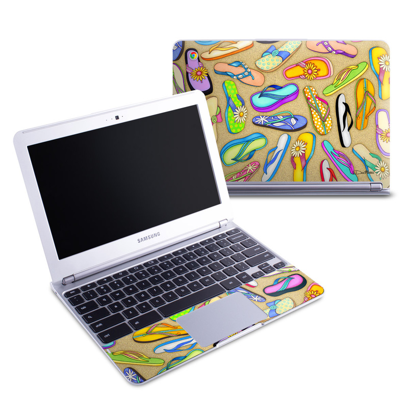 Samsung Chromebook 1 Skin design of Pattern, Design, Visual arts, Footwear, Art with gray, green, blue, pink, purple, orange colors