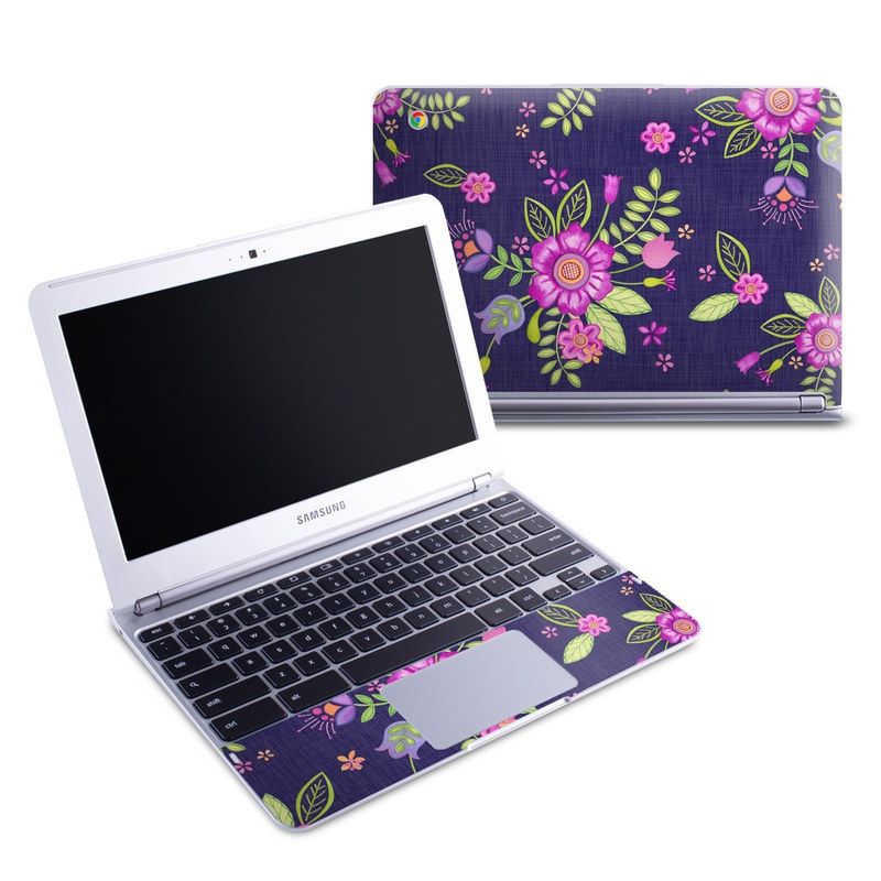 Samsung Chromebook 1 Skin design of Pink, Pattern, Magenta, Purple, Violet, Floral design, Lilac, Textile, Visual arts, Pedicel with black, gray, purple, green, blue colors