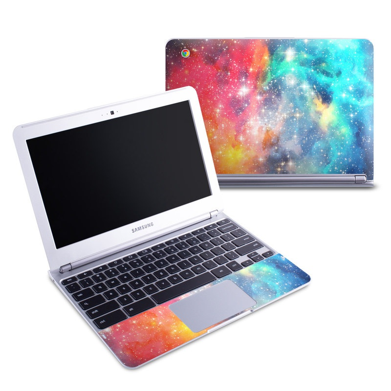 Samsung Chromebook 1 Skin design of Nebula, Sky, Astronomical object, Outer space, Atmosphere, Universe, Space, Galaxy, Celestial event, Star with white, black, red, orange, yellow, blue colors