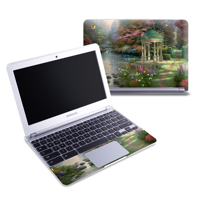 Samsung Chromebook 1 Skin design of Nature, Natural landscape, Tree, Botany, Water, Garden, Gazebo, Spring, Plant, Reflection with black, gray, green, red, purple colors