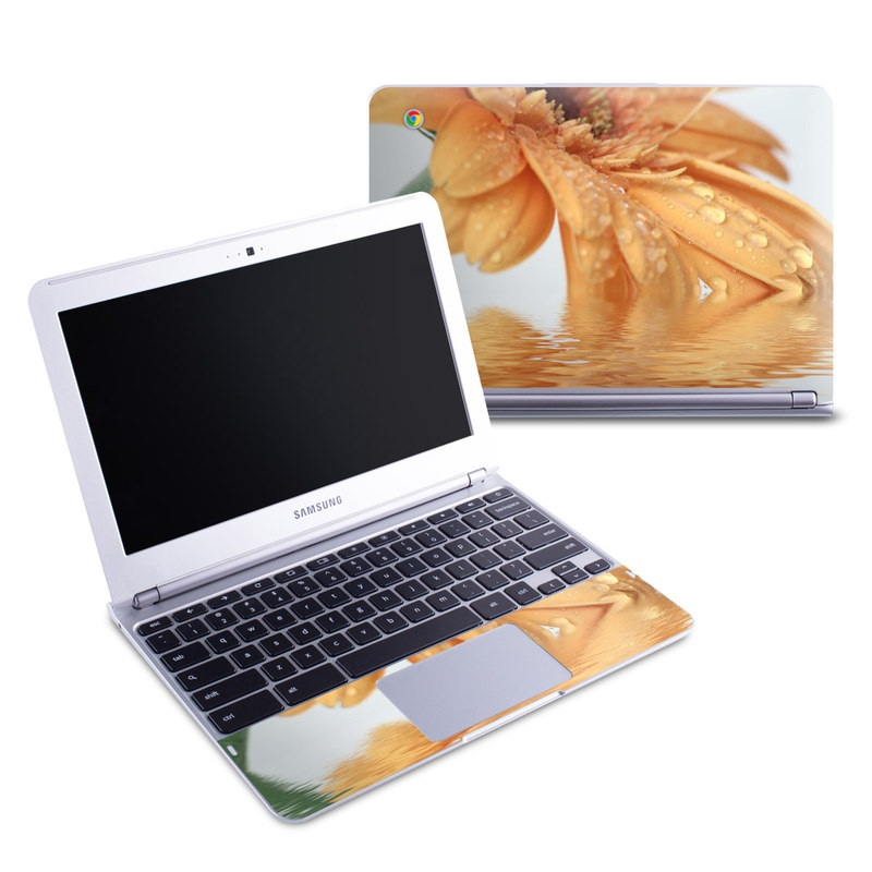 Samsung Chromebook 1 Skin design of Water, Gerbera, Yellow, Petal, Close-up, Moisture, Macro photography, Drop, Flower, Peach with green, gray, pink, red, orange, purple colors