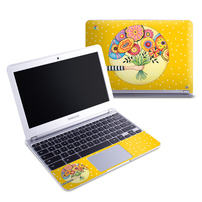 Samsung Chromebook 1 Skin design of Circle, Illustration, Clip art, Plant with orange, yellow, pink, gray, green, black colors