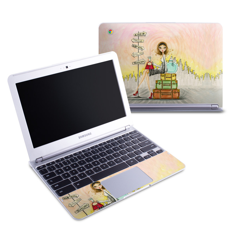 Samsung Chromebook 1 Skin design of Cartoon, Illustration, Art, Watercolor paint with gray, pink, green, red, black colors