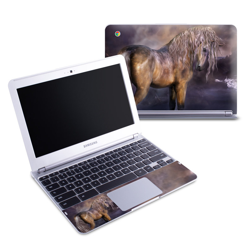 Samsung Chromebook 1 Skin design of Horse, Mane, Stallion, Mustang horse, Fictional character, Mare, Painting, Wildlife, Mythical creature with black, gray, red, blue, green colors
