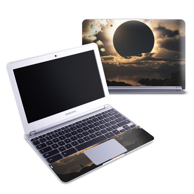 Samsung Chromebook 1 Skin design of Sky, Cloud, Daytime, Eclipse, Atmosphere, Cumulus, Sunlight, Sun, Astronomical object, Celestial event with black, red, green, gray, pink, yellow colors