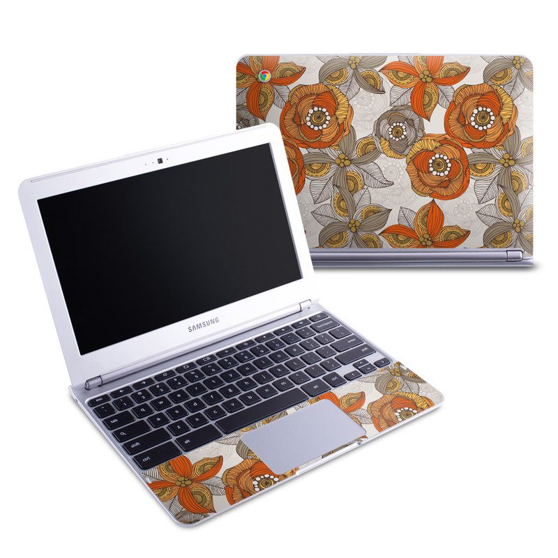 Orange and Grey Flowers Samsung Chromebook 11.6-inch XE303C12 Skin