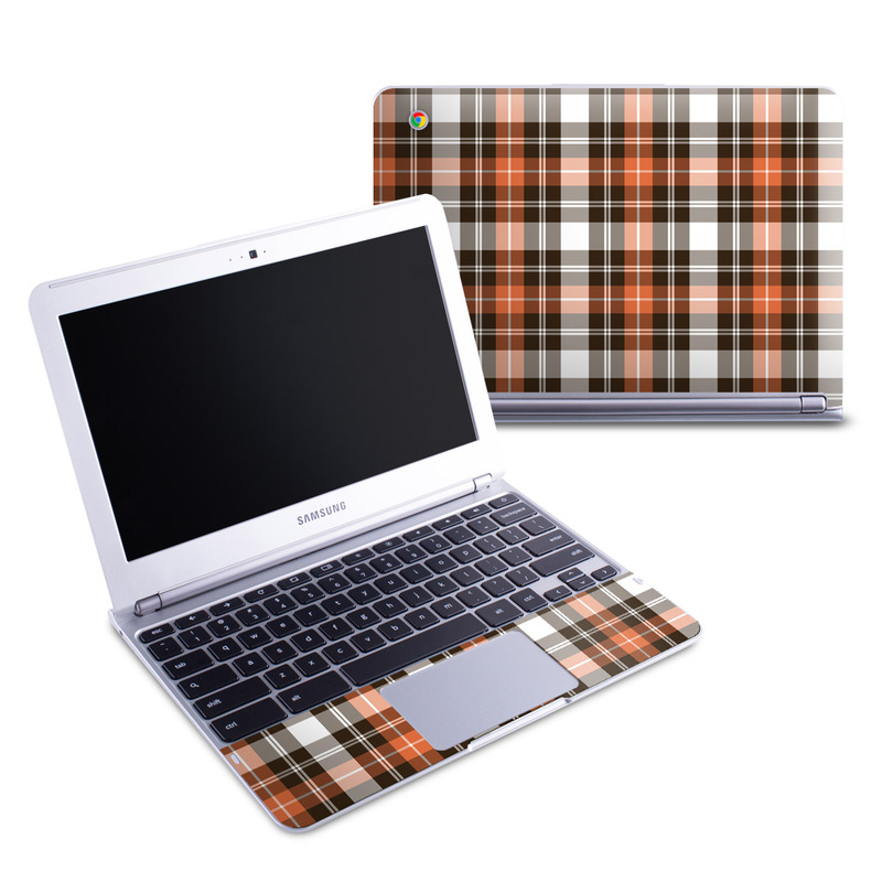 Samsung Chromebook 1 Skin design of Plaid, Pattern, Tartan, Orange, Brown, Textile, Line, Design, Tints and shades with gray, black, red, white, pink, green colors