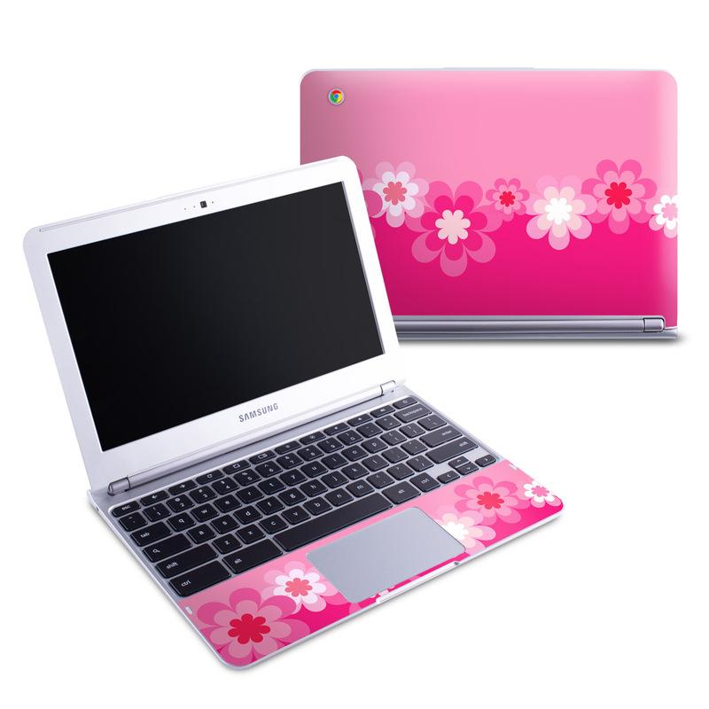 Retro Pink Flowers Samsung Chromebook 1 Skin
