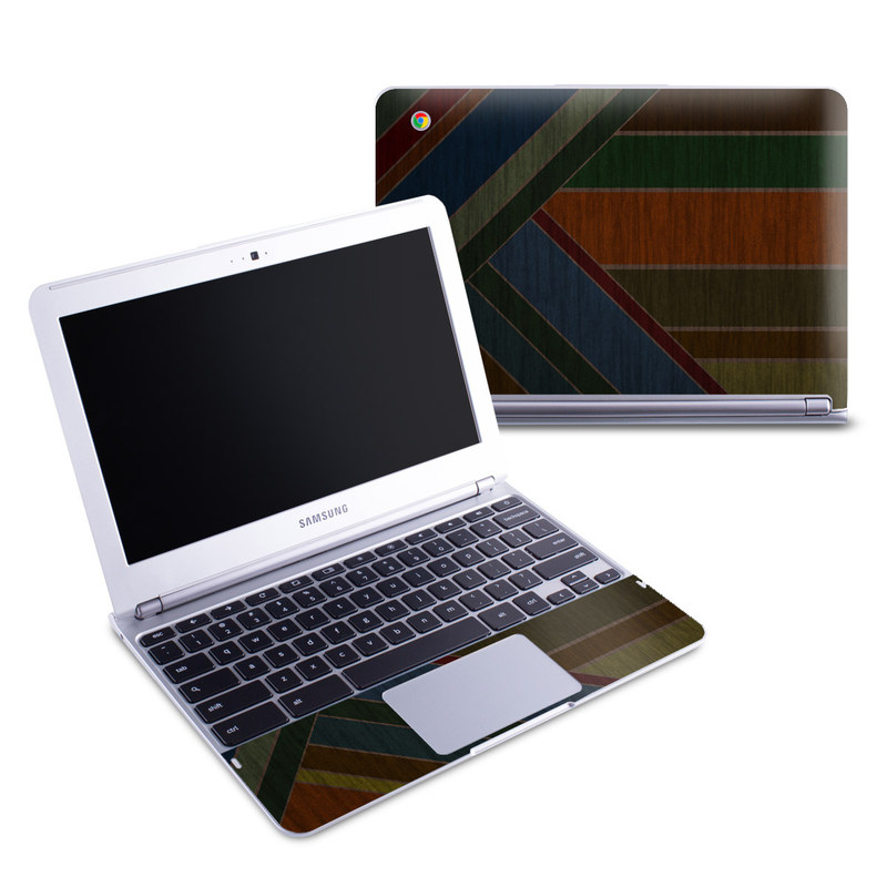 Samsung Chromebook 1 Skin design of Blue, Orange, Red, Line, Brown, Pattern, Maroon, Design, Textile, Tints and shades with black colors
