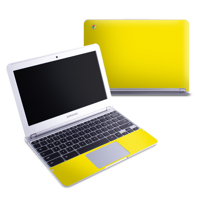 Samsung Chromebook 1 Skin design of Green, Yellow, Orange, Text, Font with yellow colors