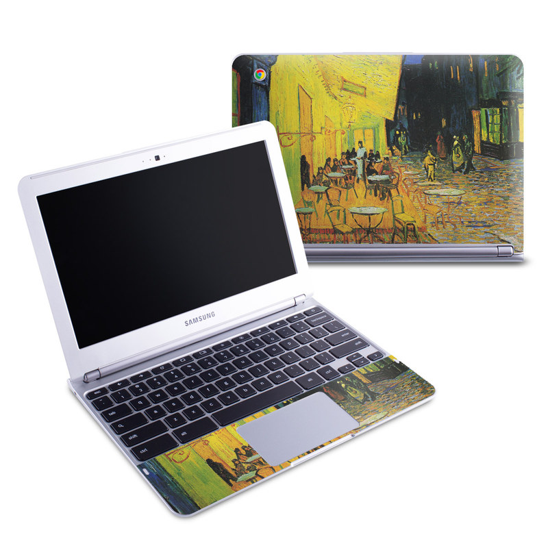 Samsung Chromebook 1 Skin design of Painting, Art, Yellow, Watercolor paint, Illustration, Modern art, Visual arts, Street, Infrastructure, Tree with green, black, blue, gray, red colors