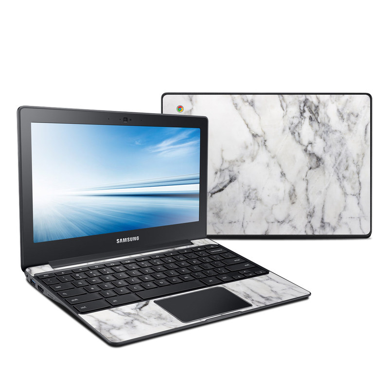 Samsung Chromebook 2 Skin design of White, Geological phenomenon, Marble, Black-and-white, Freezing with white, black, gray colors