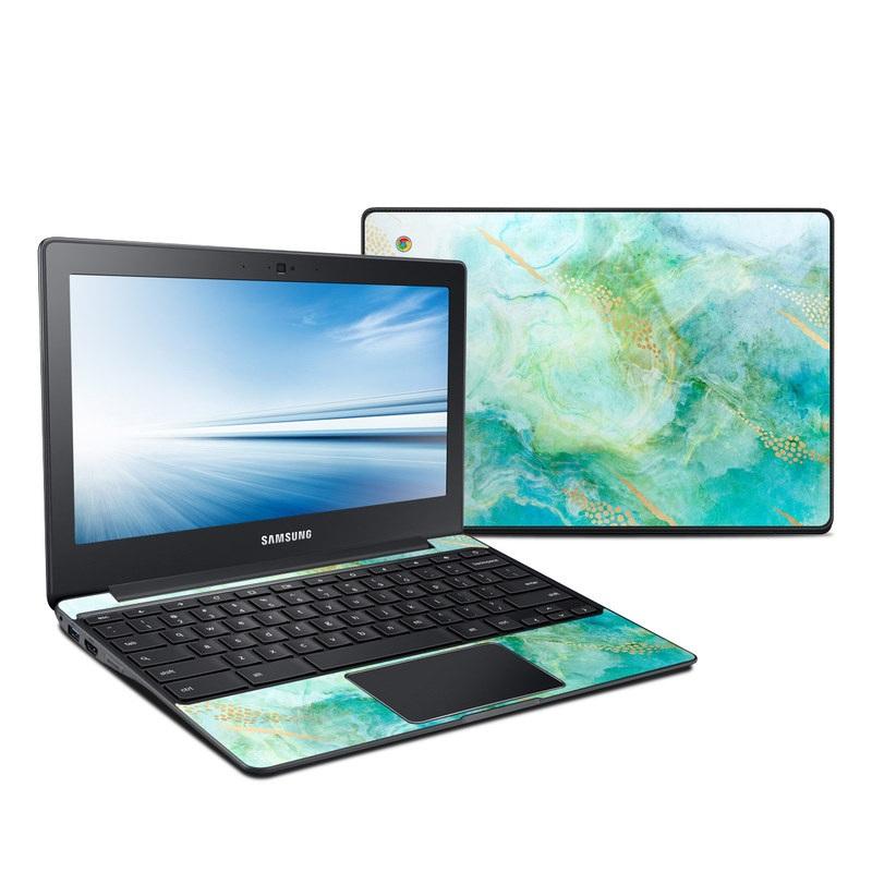 Samsung Chromebook 2 Skin design of Blue, Watercolor paint, Aqua, Line, Sky, Design, Pattern, Art, Illustration with blue, yellow, orange colors