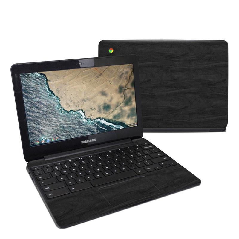Samsung Chromebook 3 Skin design of Black, Brown, Wood, Grey, Flooring, Floor, Laminate flooring, Wood flooring with black colors