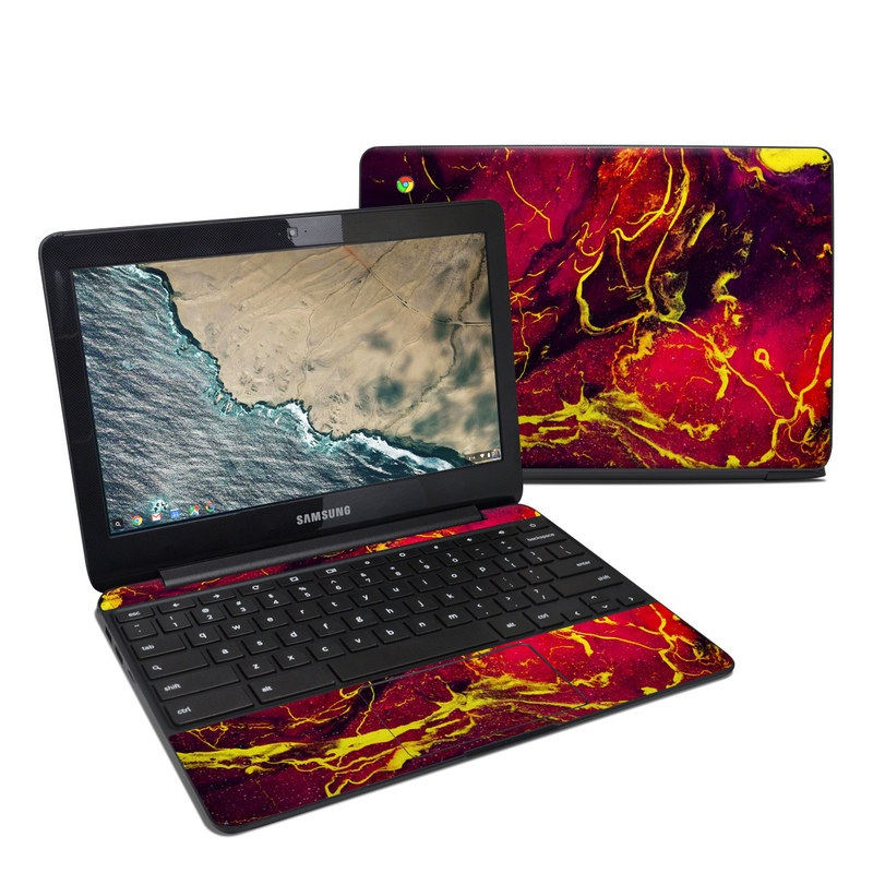 Samsung Chromebook 3 Skin design of Red, Purple, Geological phenomenon, Pattern, Fractal art, Art, Fictional character, Graphics with red.yellow, black colors