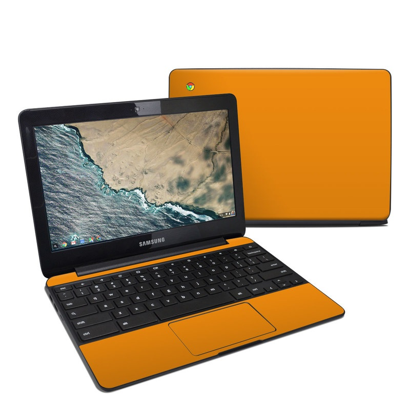 Samsung Chromebook 3 Skin design of Orange, Yellow, Brown, Text, Amber, Font, Peach with orange colors
