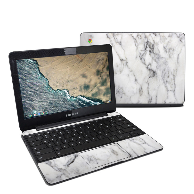 Samsung Chromebook 3 Skin design of White, Geological phenomenon, Marble, Black-and-white, Freezing with white, black, gray colors