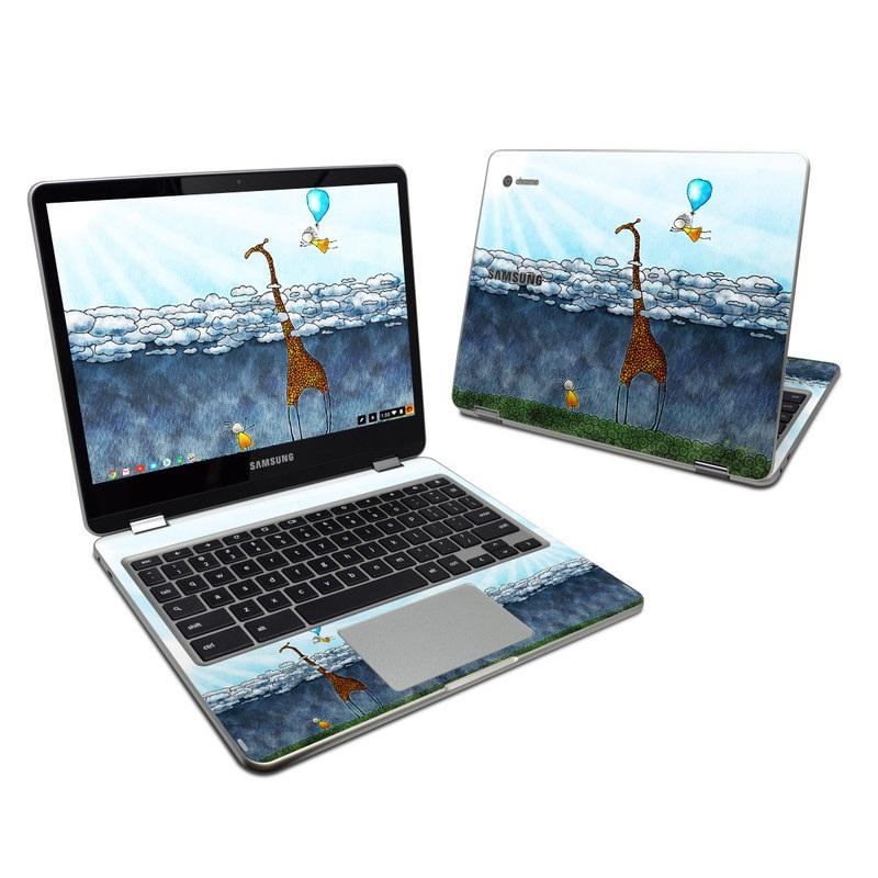 Samsung Chromebook Plus 2017 Skin design of Giraffe, Sky, Tree, Water, Branch, Giraffidae, Illustration, Cloud, Grassland, Bird with blue, gray, yellow, green colors