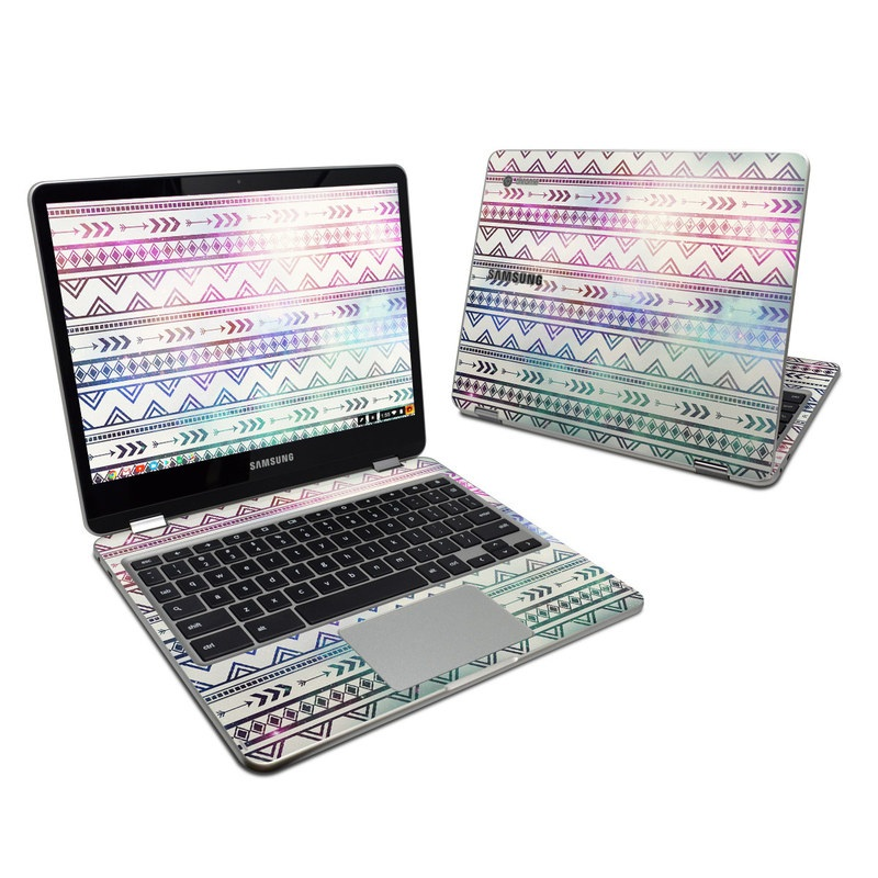 Samsung Chromebook Plus 2017 Skin design of Pattern, Line, Teal, Design, Textile with gray, pink, yellow, blue, black, purple colors