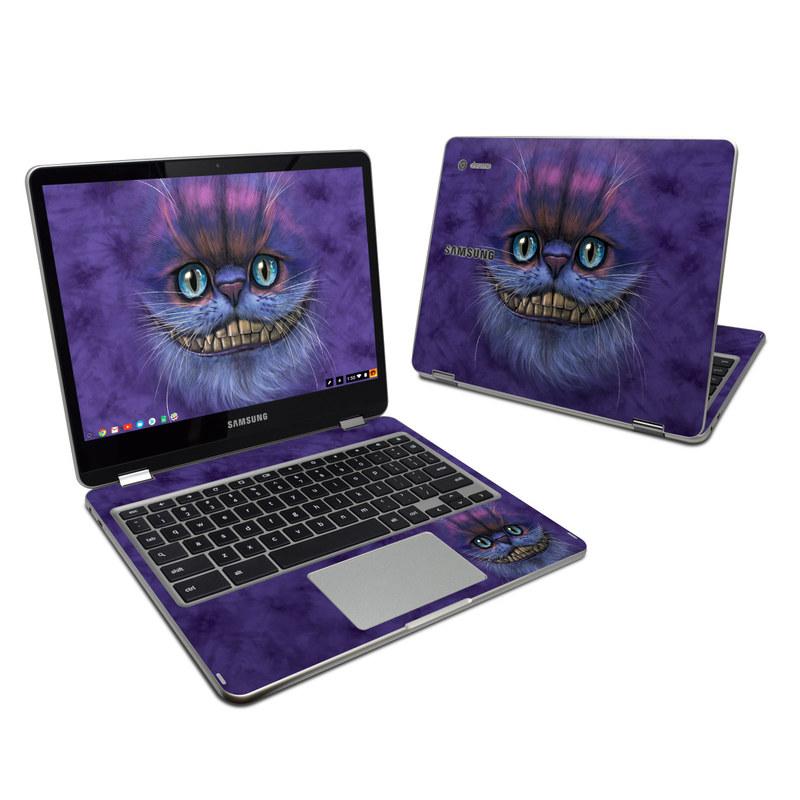 Samsung Chromebook Plus 2017 Skin design of Cat, Whiskers, Felidae, Small to medium-sized cats, Snout, Eye, Illustration, Ojos azules, Black cat, Carnivore with purple, blue colors