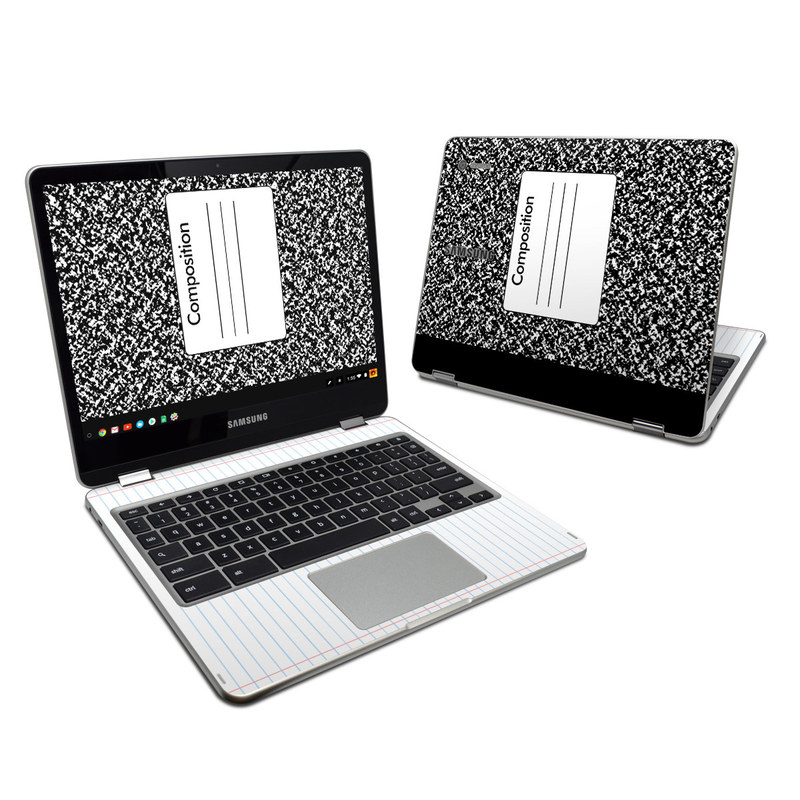 Samsung Chromebook Plus 2017 Skin design of Text, Font, Line, Pattern, Black-and-white, Illustration with black, gray, white colors