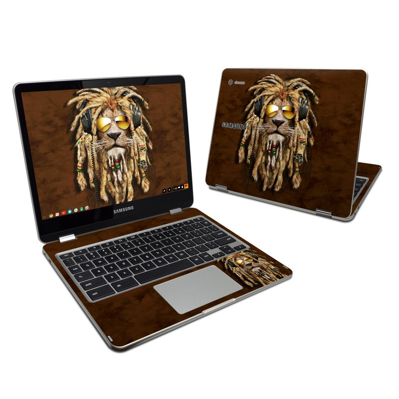 Samsung Chromebook Plus 2017 Skin design of Hair, Fur, Dreadlocks, Snout, Organism, Glasses, Whiskers, Mask, Wildlife, Fictional character with black, green, red, gray colors