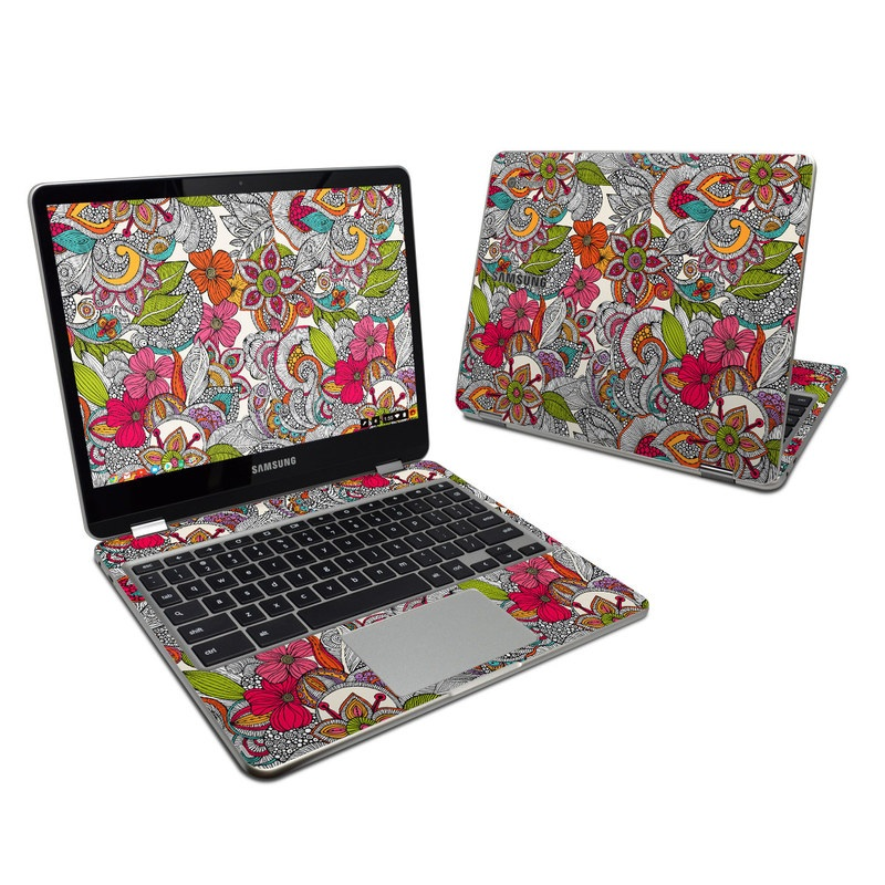 Samsung Chromebook Plus 2017 Skin design of Pattern, Drawing, Visual arts, Art, Design, Doodle, Floral design, Motif, Illustration, Textile with gray, red, black, green, purple, blue colors