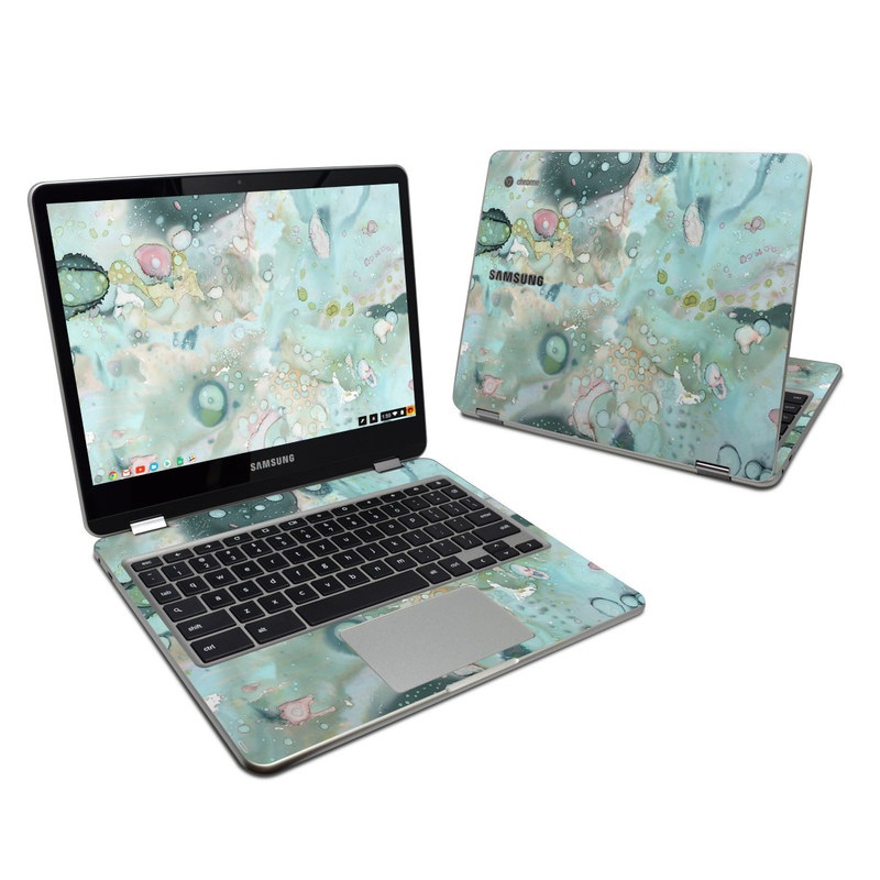 Samsung Chromebook Plus 2017 Skin design of Aqua, Blue, Green, Watercolor paint, Pattern, Turquoise, Organism, Design, Art, Painting with blue, green, pink colors