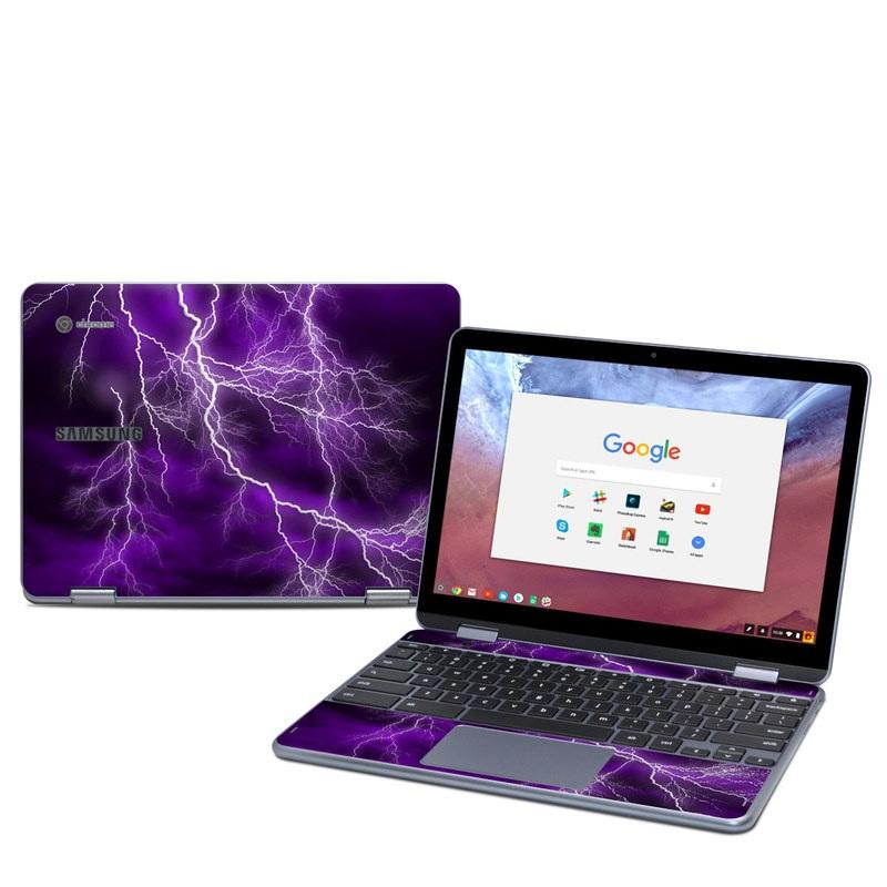 Samsung Chromebook Plus 2018 Skin design of Thunder, Lightning, Thunderstorm, Sky, Nature, Purple, Violet, Atmosphere, Storm, Electric blue with purple, black, white colors