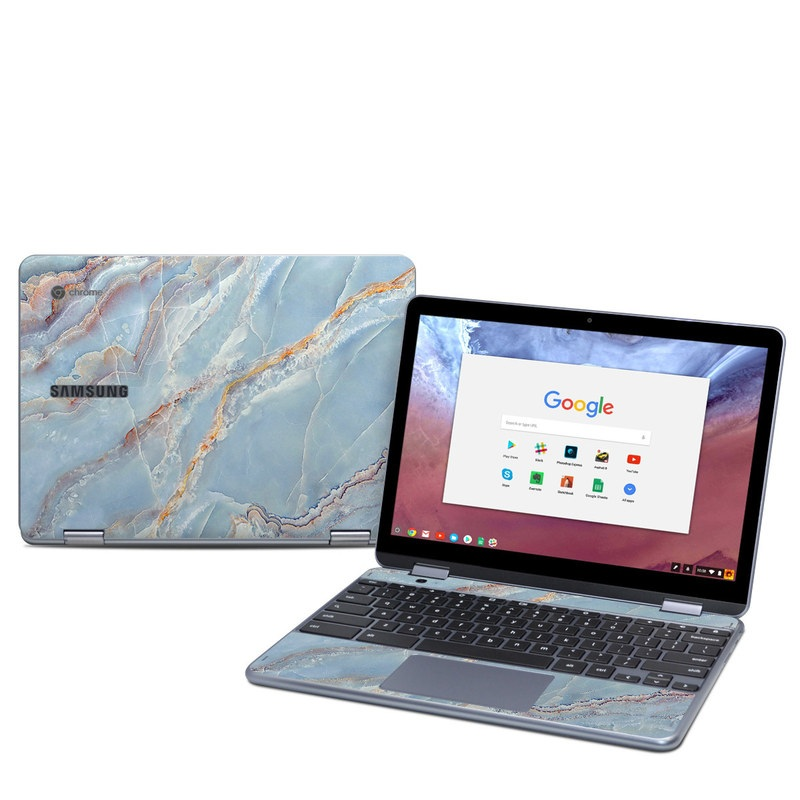Samsung Chromebook Plus 2018 Skin design of Blue, Azure, Aqua, Onyx with blue, red, orange, white colors
