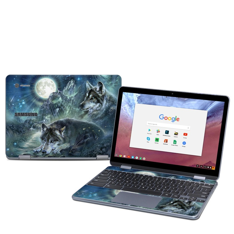 Samsung Chromebook Plus 2018 Skin design of Cg artwork, Fictional character, Darkness, Werewolf, Illustration, Wolf, Mythical creature, Graphic design, Dragon, Mythology with black, blue, gray, white colors