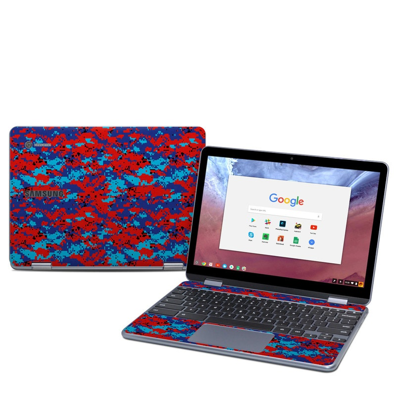 Samsung Chromebook Plus 2018 Skin design of Blue, Red, Pattern, Textile, Electric blue with blue, red colors