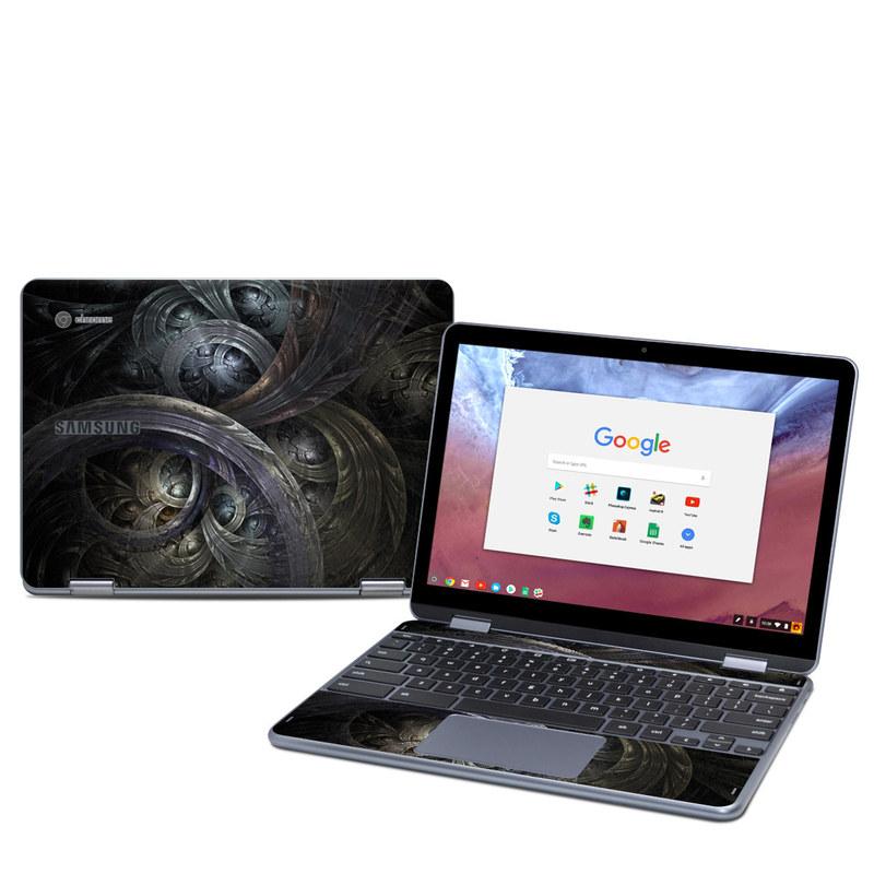 Samsung Chromebook Plus 2018 Skin design of Fractal art, Graphic design, Art, Cg artwork, Darkness, Circle, Pattern, Illustration, Graphics, Metal with black, gray, blue colors
