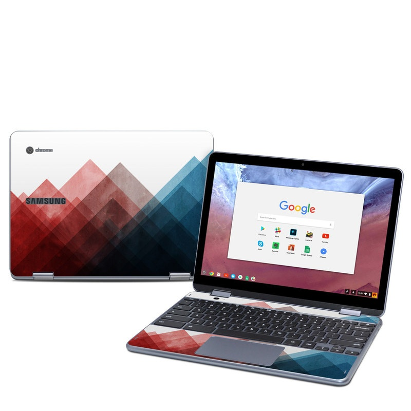 Samsung Chromebook Plus 2018 Skin design of Blue, Red, Sky, Pink, Line, Architecture, Font, Graphic design, Colorfulness, Illustration with red, pink, blue colors