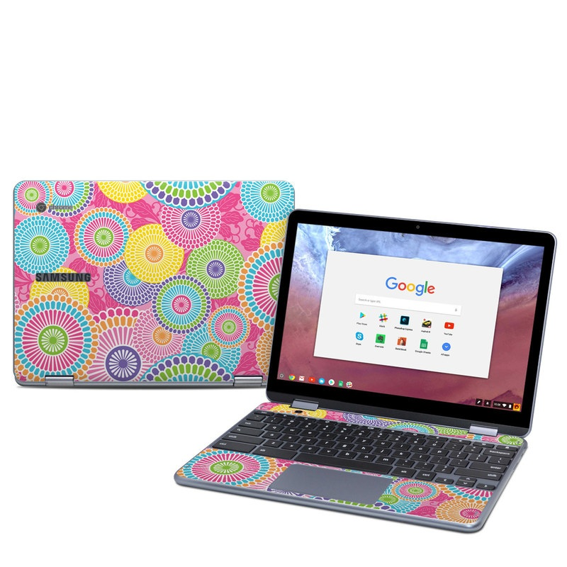 Samsung Chromebook Plus 2018 Skin design of Pattern, Circle, Textile, Design, Visual arts, Wrapping paper with gray, pink, purple, orange, blue, green colors