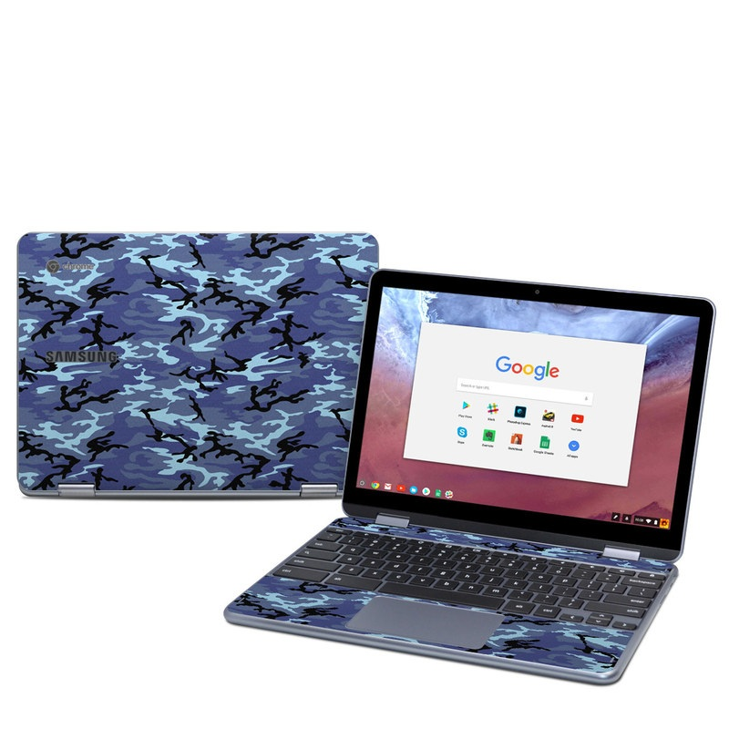 Samsung Chromebook Plus 2018 Skin design of Military camouflage, Pattern, Blue, Aqua, Teal, Design, Camouflage, Textile, Uniform with blue, black, gray, purple colors