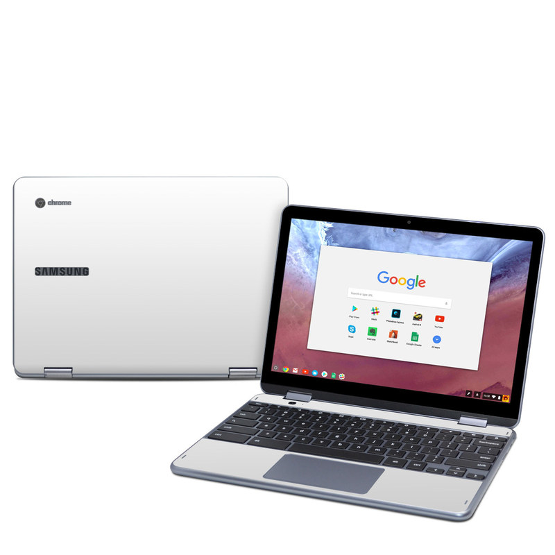 Samsung Chromebook Plus 2018 Skin design of White, Black, Line with white colors