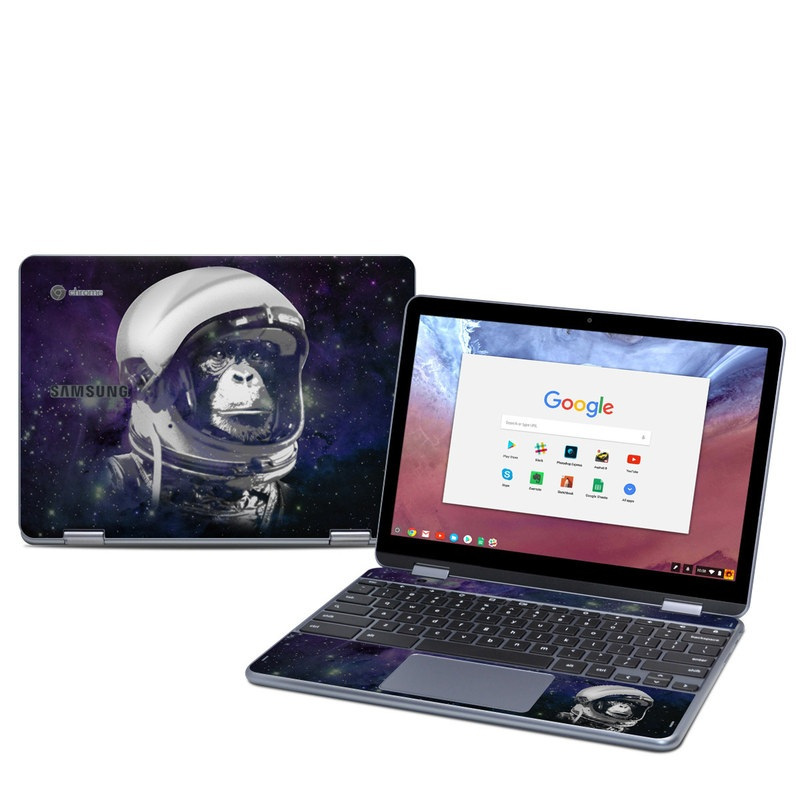 Samsung Chromebook Plus 2018 Skin design of Helmet, Astronaut, Personal protective equipment, Illustration, Space, Outer space, Headgear, Fictional character, Sports gear, Football gear with black, gray, blue, white colors