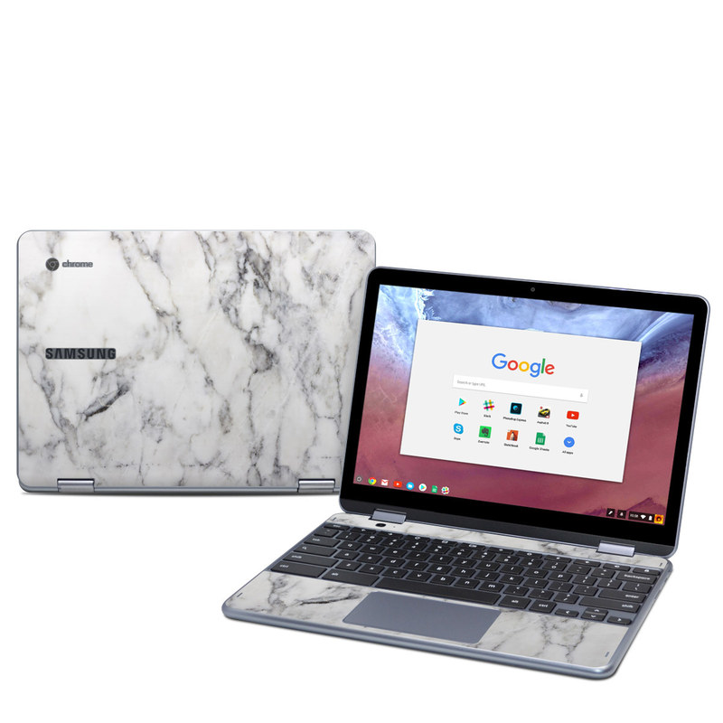 Samsung Chromebook Plus 2018 Skin design of White, Geological phenomenon, Marble, Black-and-white, Freezing with white, black, gray colors