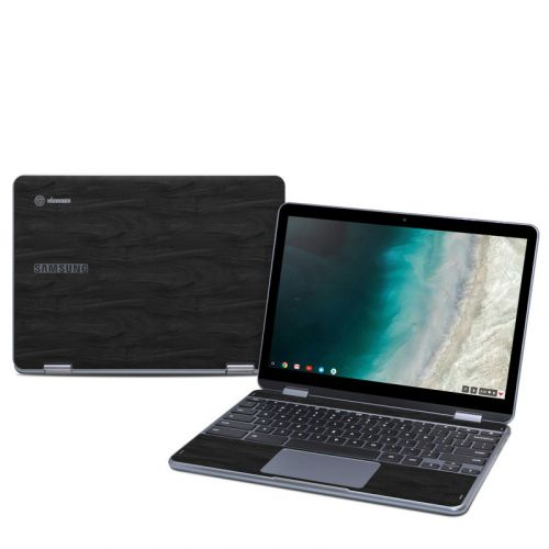 Black Woodgrain Samsung Chromebook Plus 2019 Skin