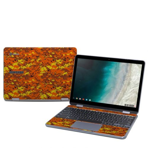 Digital Orange Camo Samsung Chromebook Plus 2019 Skin