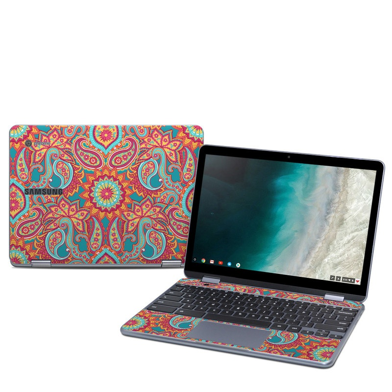 Samsung Chromebook Plus 2019 Skin design of Pattern, Paisley, Motif, Visual arts, Design, Art, Textile, Psychedelic art with orange, yellow, blue, red colors